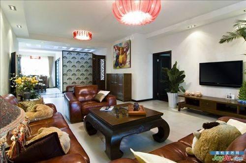 中式装修,混搭风格装修,家具软装,客厅顶灯,餐厅屏风,青岛中
