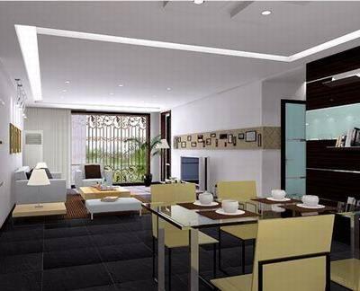 经典的客厅餐厅装修效果图:黑白-大受热捧的客厅餐厅风格 有你想要的