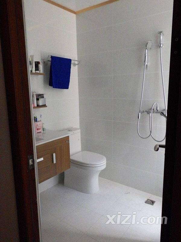 有没有发觉从房间的地板到衣帽间的颜色,洗手间房门的颜色,高清图片
